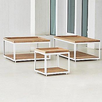 White frame with Teak finish