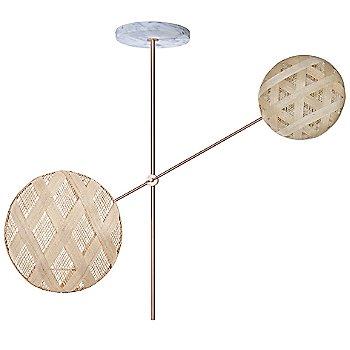 Copper fixture finish / Natural Shade / Hexagonal Small Shade Fabric Pattern / Diamond Large Shade Fabric Pattern