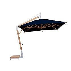 Square Levante Side Wind Bamboo Cantilever Umbrella With Base, 11 Ft.
