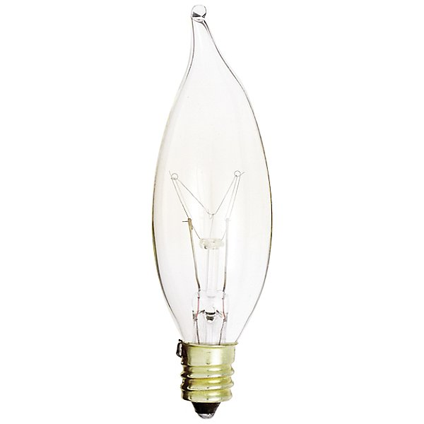 15W 120V CA8 E12 Flame Tip Clear Bulb 6-Pack