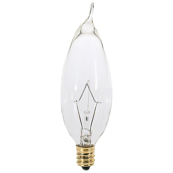 25W 120V CA8 E12 Flame Tip Clear Bulb 6-Pack