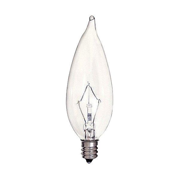 40W 120V CA9 1/2 E12 Flame Tip Krypton Clear Bulb 6-Pack