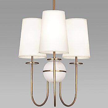 Shown in Fondine shade, Aged Brass finish, Alabaster stone color, 3 Light