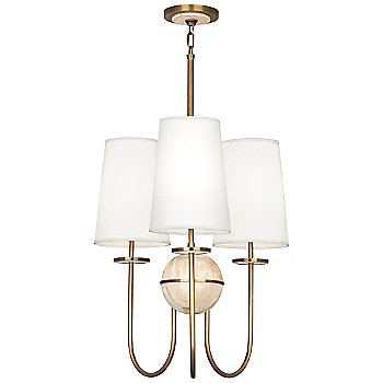 Shown in Fondine shade, Aged Brass finish, Travertine stone color, 3 Light
