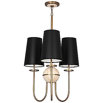 Shown in Black Opaque shade, Aged Brass finish, Travertine stone color, 3 Light
