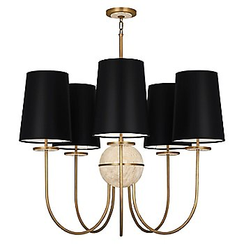 Shown in Black Opaque shade, Aged Brass finish, Travertine stone color, 5 Light
