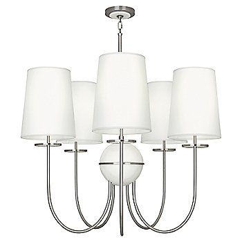 Shown in Fondine shade, Polished Nickel finish, Alabaster stone color, 5 Light