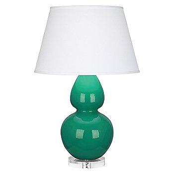 Lucite Base finish / Emerald Green finish / Pearl Dupioni Fabric Shade