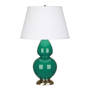 Brass Base finish / Emerald Green finish / Pearl Dupioni Fabric Shade