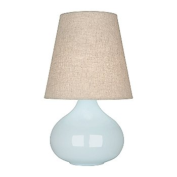 Shown in Baby Blue Glazed Ceramic finish, Buff Linen shade