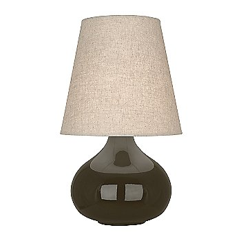 Shown in Brown Tea Glazed Ceramic finish, Buff Linen shade