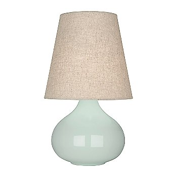 Shown in Celadon Glazed Ceramic finish, Buff Linen shade