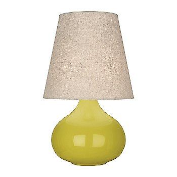 Shown in Citron Glazed Ceramic finish, Buff Linen shade