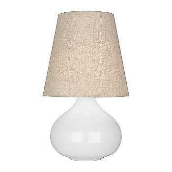 Shown in Lily Glazed Ceramic finish, Buff Linen shade