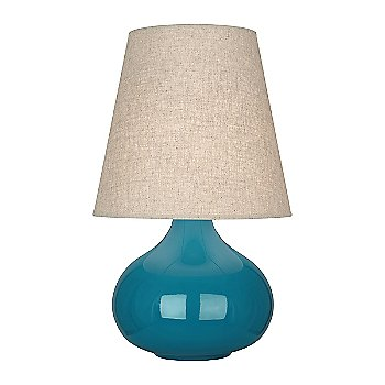 Shown in Peacock Glazed Ceramic finish, Buff Linen shade
