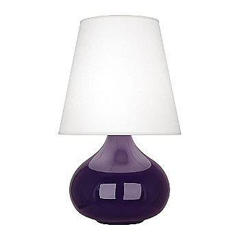 Shown in Amethyst  Glazed Ceramic finish, Oyster Linen shade
