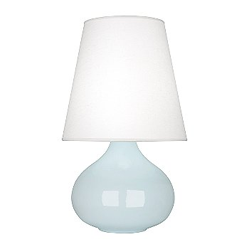 Shown in Baby Blue  Glazed Ceramic finish, Oyster Linen shade