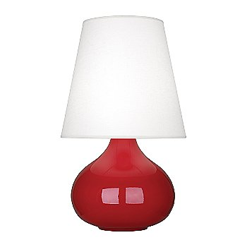 Shown in Ruby Red Glazed Ceramic finish, Oyster Linen shade