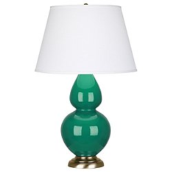 Double Gourd Table Lamp (Emerald Green/Brass/Pearl Dupioni Fabric Shade) - OPEN BOX RETURN