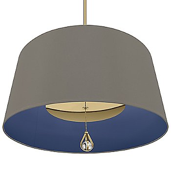 Carter Grey Shade with Ink Blue Interior / Modern Brass finish / illuminated