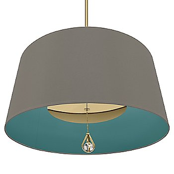 Carter Grey Shade with Mayo Teal Interior / Modern Brass finish / illumianted