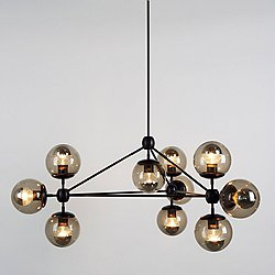 Modo 3 Sided Chandelier - 10 Globes (Black/Smoke) - OPEN BOX