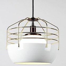 Bluff City 14 Inch Pendant Light (White/Brass) - OPEN BOX RETURN