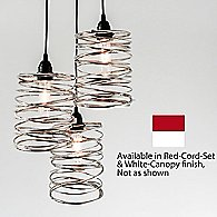 Spiral Nest CascadingChandelier(Nkl/Red/Wht/L/48In)-OPEN BOX