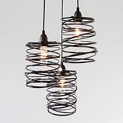 Spiral Nest Cascading 3 Light Chandelier