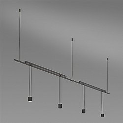 Suspenders 36 Inch 2-Bar Mounted In-Line Linear LED Lighting System - Suspended Cylinder / Flood Lens
