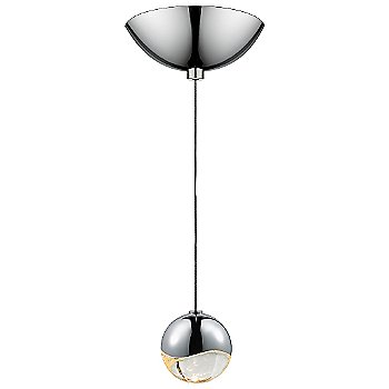 Shown in Polished Chrome w Clear Glass finish, Small, Dome Shape