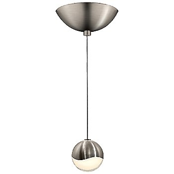 Shown in Satin Nickel w White Glass finish, Small, Dome Shape