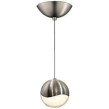 Shown in Satin Nickel w White Glass finish, Large, Dome Shape