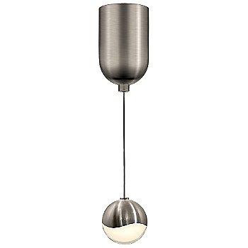 Shown in Satin Nickel w White Glass finish, Small, Mini-Dome Shape