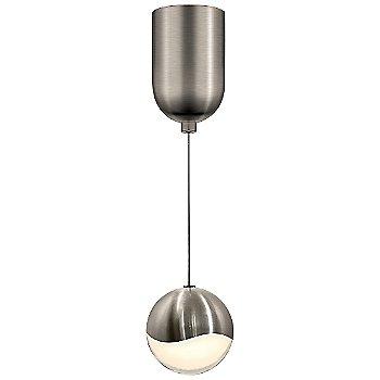 Shown in Satin Nickel w White Glass finish, Medium, Mini-Dome Shape