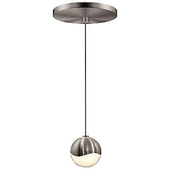 Shown in Satin Nickel w White Glass finish, Small, Round Shape