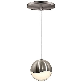 Shown in Satin Nickel w White Glass finish, Large, Round Shape