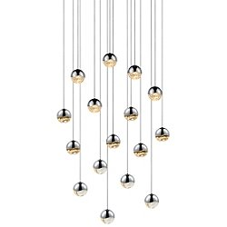 Grapes 16 Light LED Square Multipoint Pendant
