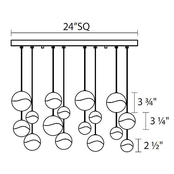 Grapes 16 Light LED Square Multipoint Pendant