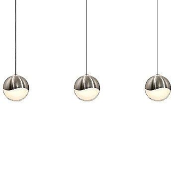 Shown in Satin Nickel w White Glass finish, Large