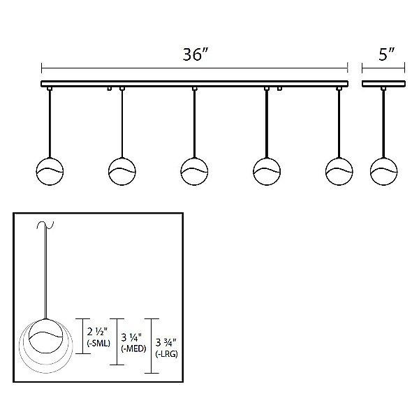 Grapes 5 Light LED Rectangular Multipoint Pendant