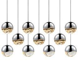 Grapes 11 Light LED Rectangular Multipoint Pendant