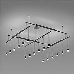 Suspenders 48 Inch 2-Tier Grid LED Lighting System - Suspended Cylinder