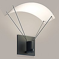 Suspenders Standard Single LED Wall Sconce - Bar-Mounted Single Cylinder / Parachute Reflector