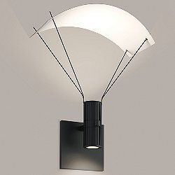 Suspenders Standard Single LED Wall Sconce - Bar-Mounted Duplex Cylinder / Flood Lens / Parachute Reflector