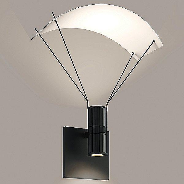 Suspenders Standard Single LED Wall Sconce - Bar-Mounted Duplex Cylinder / Flood Lens / Parachute Reflector