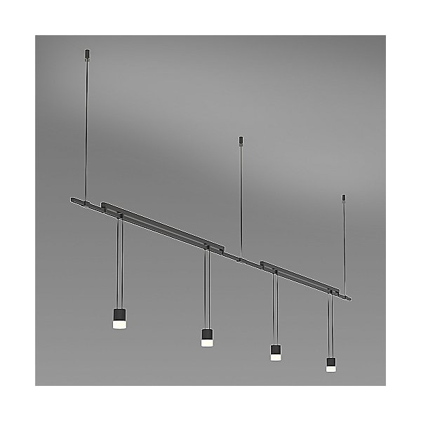Suspenders 36 Inch 2-Bar Mounted In-Line Linear LED Lighting System - Suspended Cylinder / Glass Diffuser