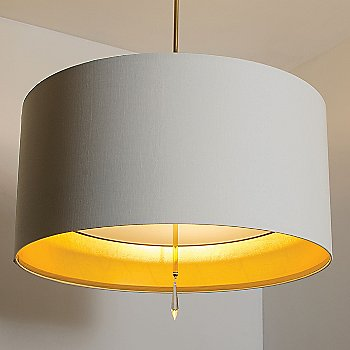 Polished Brass finish / White Silk Dupioni-Gold Inner shade / in use