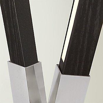 Brushed Nickel finish with Ebonized Oak / Detail view