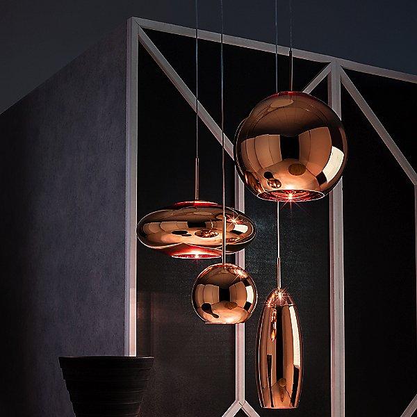 Copper Shade Wide Pendant Light